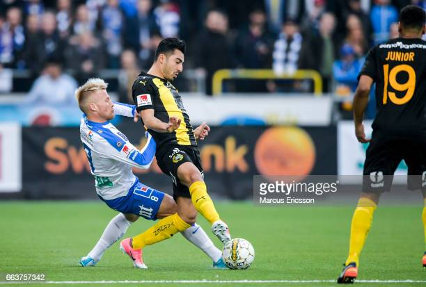Nicklas Barkroth of IFK Norrkoping ana Jiloan Hamad of Hammarby IF during the Allsvenskan match between IFK Norrkoping and Hammarby IF on April 2...