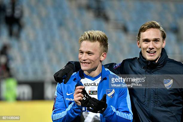 Nicklas Barkroth of IFK Norrkoping and Linus Wahlqvist of IFK Norrkoping after the allsvenskan match between IFK Norrkoping and IFK Goteborg at Nya...