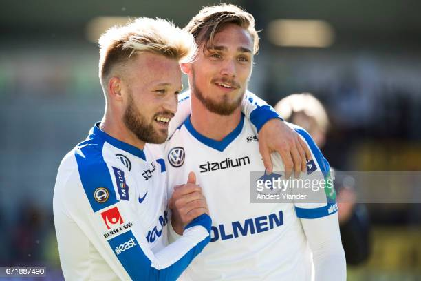 Nicklas Barkroth of IFK Norrkoping and Linus Wahlqvist of IFK Norrkoping celebrates the victory after the Allsvenskan match between BK Hacken and IFK...