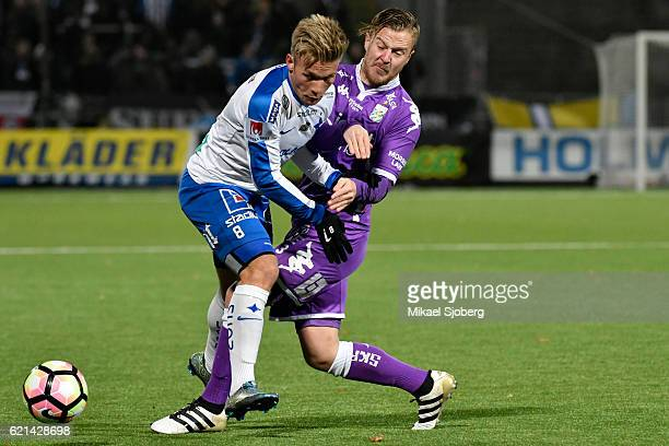Nicklas Barkroth of IFK Norrkoping and Scott Jamieson of IFK Goteborg during the allsvenskan match between IFK Norrkoping and IFK Goteborg at Nya...