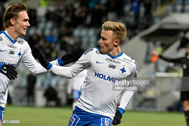 Nicklas Barkroth of IFK Norrkoping celebrates after scoring 31 during the allsvenskan match between IFK Norrkoping and IFK Goteborg at Nya Parken on...