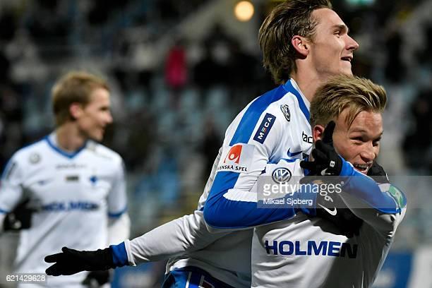 Nicklas Barkroth of IFK Norrkoping celebrates after scoring 31 during the allsvenskan match between IFK Norrkoping and IFK Goteborg at Nya Parken on...