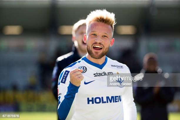 Nicklas Barkroth of IFK Norrkoping celebrates his team's victory after the Allsvenskan match between BK Hacken and IFK Norrkoping at Bravida Arena on...