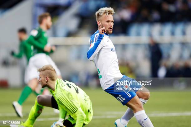 Nicklas Barkroth of IFK Norrkoping during the Allsvenskan match between IFK Norrkoping and Jonkopings Sodra IF at Ostgotaporten on April 27 2017 in...