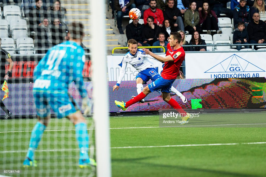 Nicklas Barkroth of IFK Norrkoping in action during the Allsvenskan match between IFK Norrkoping and Helsingborgs IF at Ostgotaporten on May 2, 2016 in Norrkoping, Sweden.