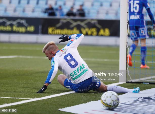 Nicklas Barkroth of IFK Norrkoping reacts during the Allsvenskan match between IFK Norrkoping and GIF Sundsvall at Ostgotaporten on May 8 2017 in...