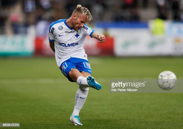 Nicklas Barkroth of IFK Norrkoping shoots during the Allsvenskan match between IFK Norrkoping and Kalmar FF at Ostgotaporten on May 16 2017 in...