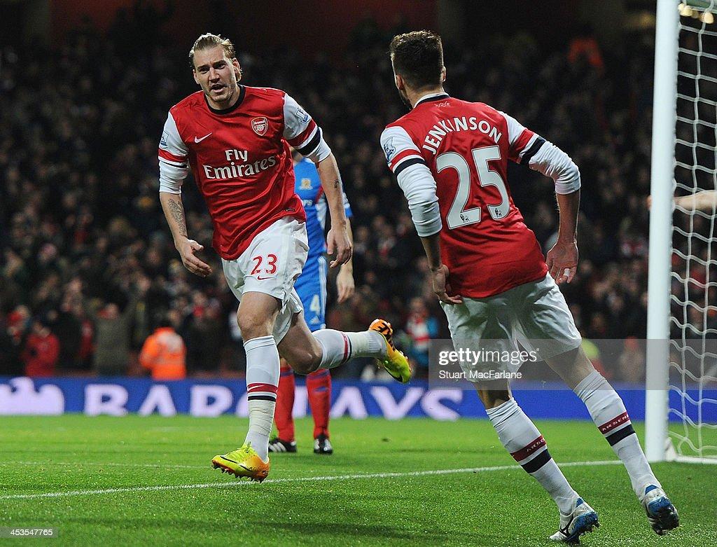 Nicklas Bendtner celebrates scoring for Arsenal during the match at Emirates Stadium on December 4 2013 in London England
