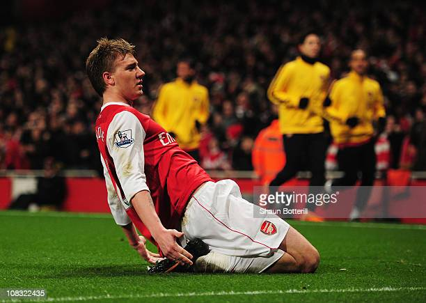 Nicklas Bendtner of Arsenal celebrates as he scores their first goal during the Carling Cup Semi Final Second Leg match between Arsenal and Ipswich...