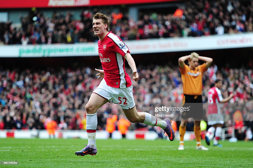 Nicklas Bendtner of Arsenal celebrates scoring a late winner during the Barclays Premier League match between Arsenal and Wolverhampton Wanderers at...