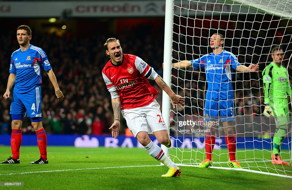 Nicklas Bendtner of Arsenal celebrates scoring the opening goal during the Barclays Premier League match between Arsenal and Hull City at Emirates...