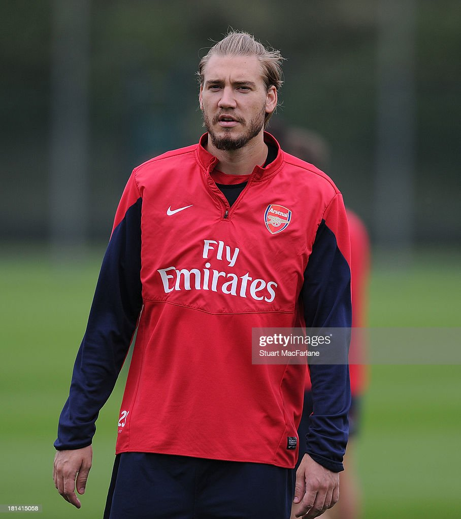 <a gi-track='captionPersonalityLinkClicked' href=/galleries/search?phrase=Nicklas+Bendtner&family=editorial&specificpeople=2142069 ng-click='$event.stopPropagation()'>Nicklas Bendtner</a> of Arsenal during a training session at London Colney on September 21, 2013 in St Albans, England.