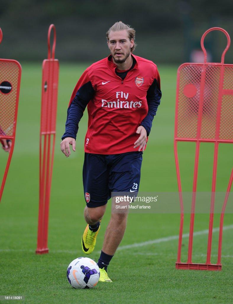 Nicklas Bendtner of Arsenal during a training session at London Colney on September 21, 2013 in St Albans, England.