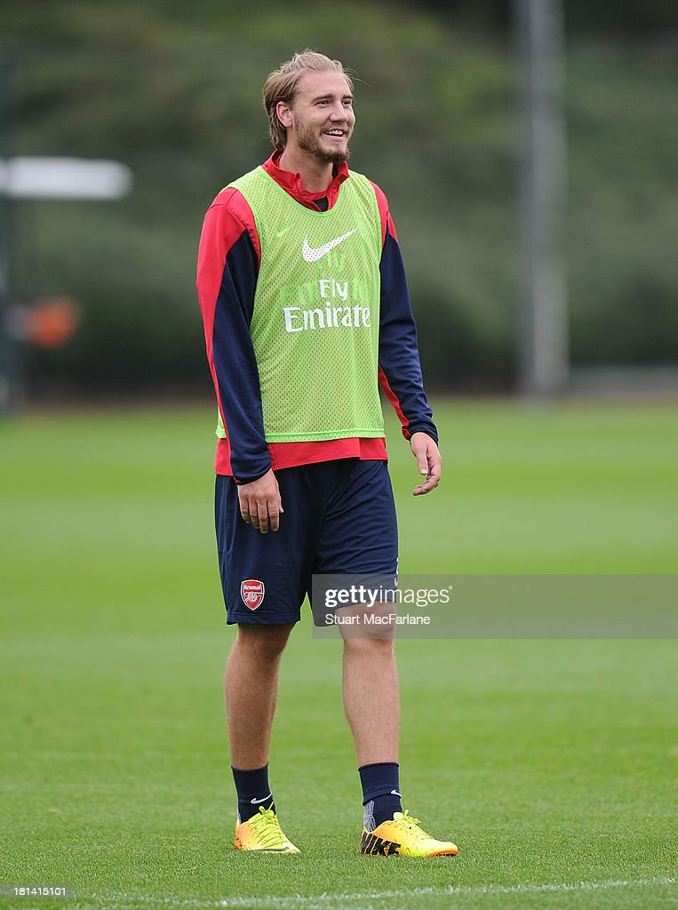 Nicklas Bendtner of Arsenal during a training session at London Colney on September 21, 2013 in St Albans, England.