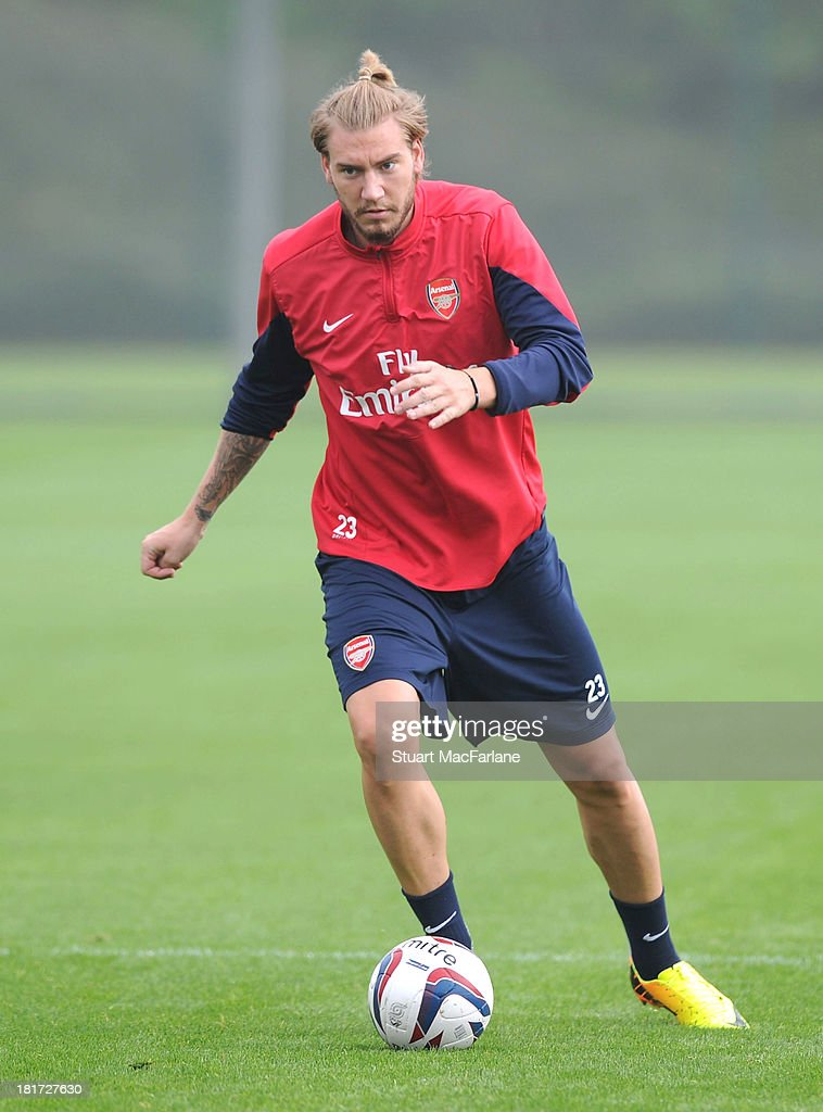 <a gi-track='captionPersonalityLinkClicked' href=/galleries/search?phrase=Nicklas+Bendtner&family=editorial&specificpeople=2142069 ng-click='$event.stopPropagation()'>Nicklas Bendtner</a> of Arsenal during a training session at London Colney on September 24, 2013 in St Albans, England.