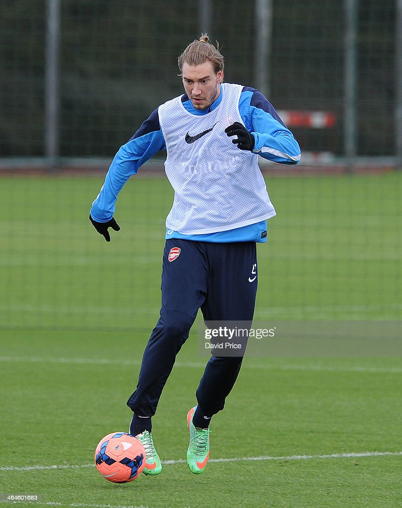 <a gi-track='captionPersonalityLinkClicked' href=/galleries/search?phrase=Nicklas+Bendtner&family=editorial&specificpeople=2142069 ng-click='$event.stopPropagation()'>Nicklas Bendtner</a> of Arsenal during Arsenal Training Session at London Colney on January 23, 2014 in St Albans, England.