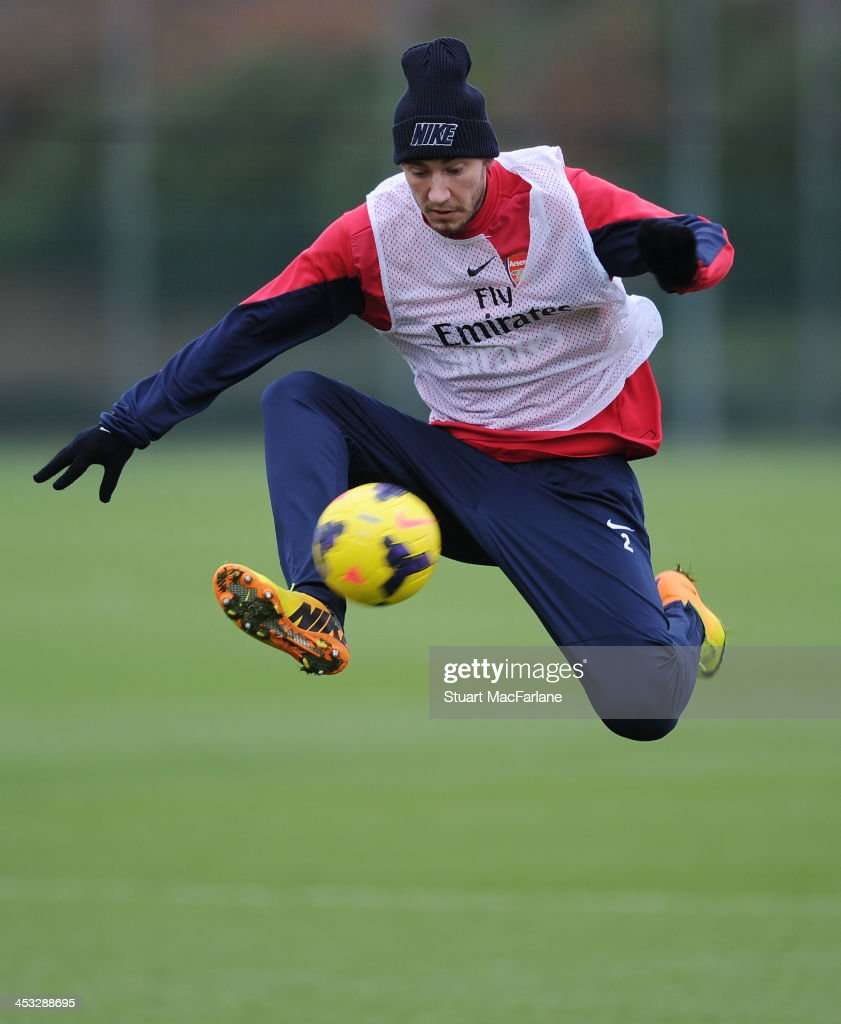 Nicklas Bendtner of Arsenal in action during a training session at London Colney on December 3 2013 in St Albans England
