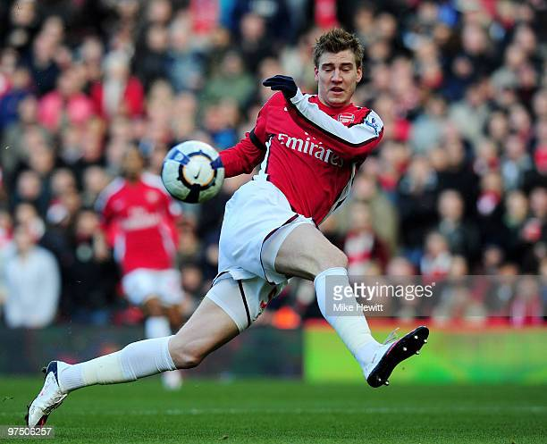 Nicklas Bendtner of Arsenal miskicks during the Barclays Premier League match between Arsenal and Burnley at Emirates Stadium on March 6 2010 in...