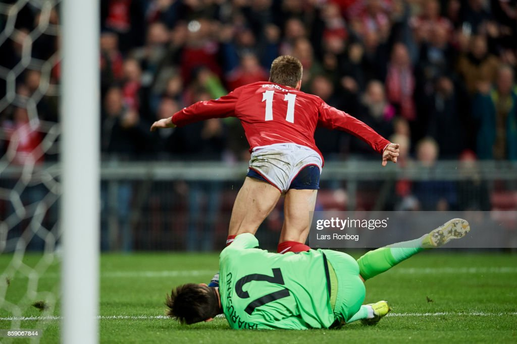 Nicklas Bendtner of Denmark celebrates but goal is cancelled for offside during the FIFA World Cup 2018 qualifier match between Denmark and Romania at Telia Parken Stadium on October 8, 2017 in Copenhagen, Denmark.