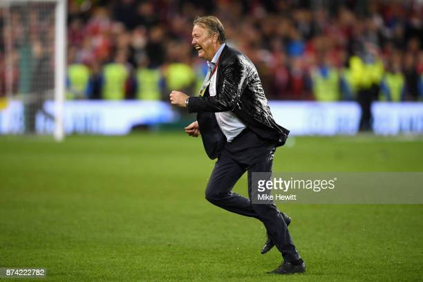 Nicklas Bendtner of Denmark celebrates victory after the FIFA 2018 World Cup Qualifier PlayOff Second Leg between Republic of Ireland and Denmark at...