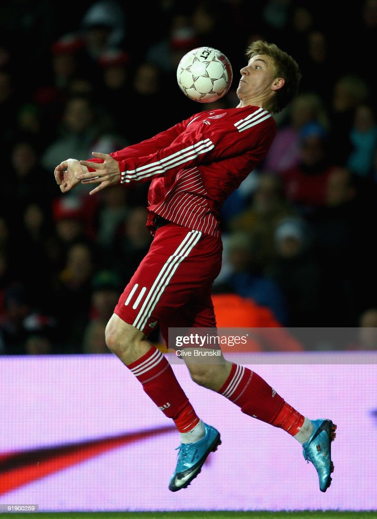 Nicklas Bendtner of Denmark in action during the FIFA 2010 group one World Cup Qualifying match between Denmark and Hungary at the Parken stadium on...