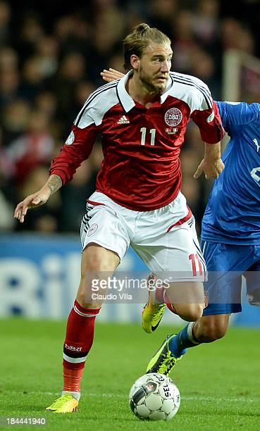 Nicklas Bendtner of Denmark in action during the FIFA 2014 world cup qualifier between Denmark and Italy at Parken Stadium on October 11 2013 in...