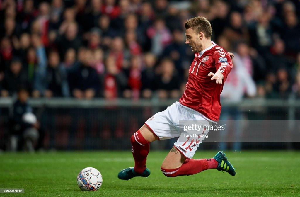 Nicklas Bendtner of Denmark in action during the FIFA World Cup 2018 qualifier match between Denmark and Romania at Telia Parken Stadium on October 8, 2017 in Copenhagen, Denmark.