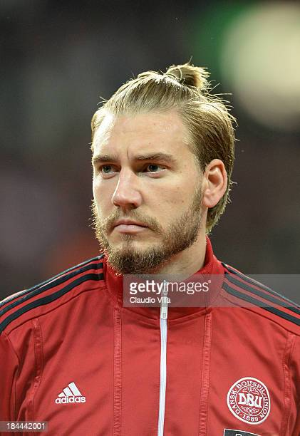 Nicklas Bendtner of Denmark looks on prior to the FIFA 2014 world cup qualifier between Denmark and Italy at Parken Stadium on October 11 2013 in...