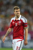 L'VIV UKRAINE JUNE 17 Nicklas Bendtner of Denmark reacts after defeat in the UEFA EURO 2012 group B match between Denmark and Germany at Arena Lviv...