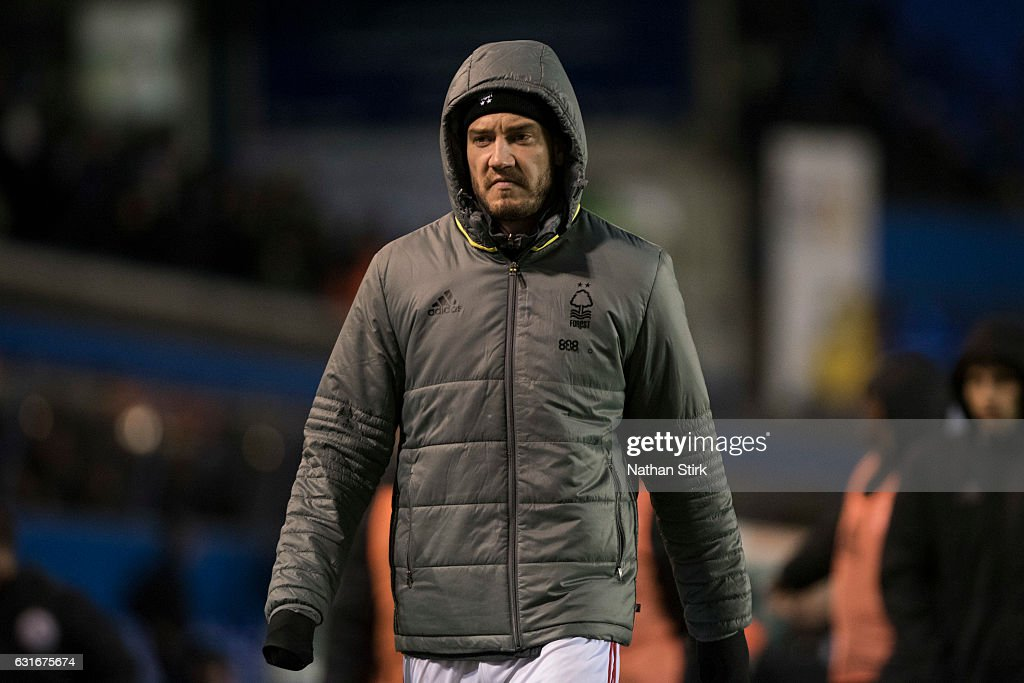 Nicklas Bendtner of Nottingham Forest looks on after the Sky Bet Championship match between Birmingham City and Nottingham Forest at St Andrews Stadium on January 14, 2017 in Birmingham, England (Photo by Nathan Stirk/Getty Images).