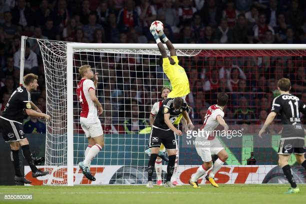 Nicklas Bendtner of Rosenborg BK Matthijs de Ligt of Ajax Johan Laedre Bjordal of Rosenborg BK Lasse Schone of Ajax goalkeeper Andre Onana of Ajax...