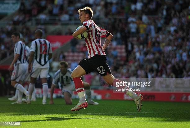 Nicklas Bendtner of Sunderland celebrates his goal during the Barclays Premier League match between Sunderland and West Bromwich Albion at Stadium of...