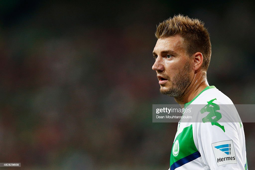 Nicklas Bendtner of VfL Wolfsburg looks on during the DFL Supercup match between VfL Wolfsburg and FC Bayern Muenchen at Volkswagen Arena on August 1...