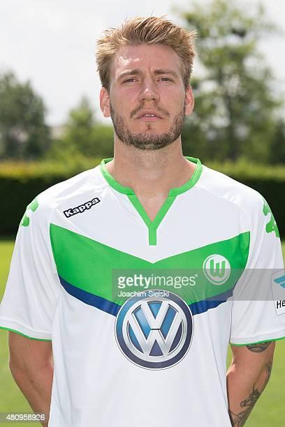 Nicklas Bendtner poses during the team presentation of VfL Wolfsburg at Volkswagen Arena on July 16 2015 in Wolfsburg Germany
