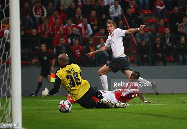 Nicklas Bendtner scores a goal for Arsenal during the UEFA Champions League Group H match between Standard Liege and Arsenal at the Sclessin Stadium...