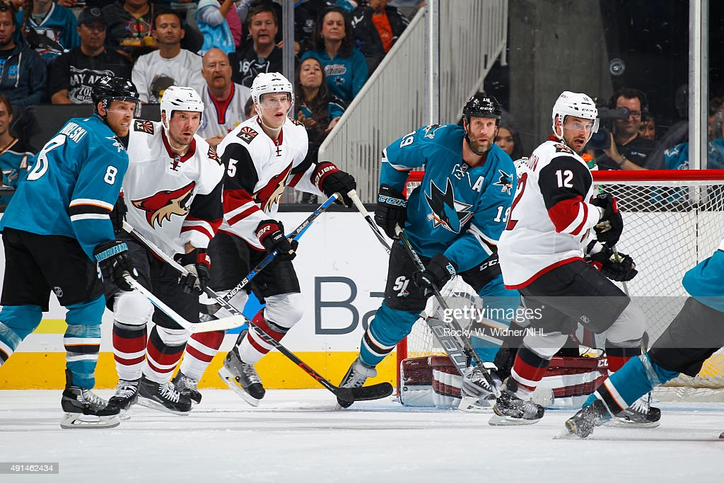 Nicklas Grossmann Connor Murphy and Brad Richardson of the Arizona Coyotes defends against Joe Pavelski and Joe Thornton of the San Jose Sharks at...