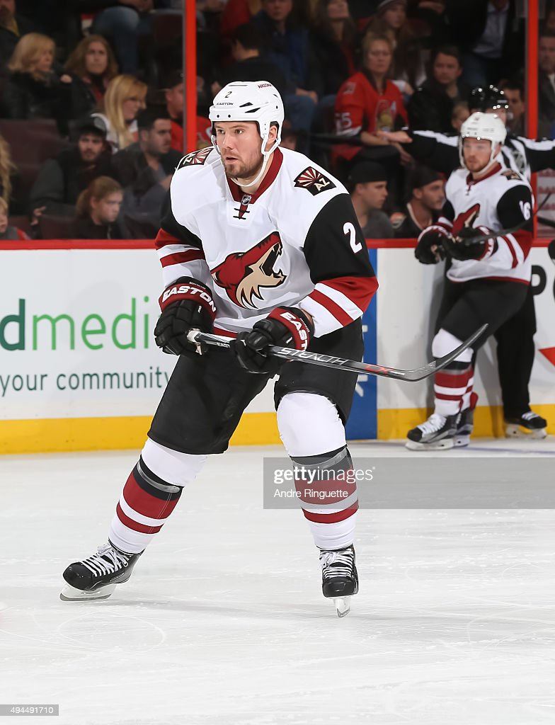 Nicklas Grossmann of the Arizona Coyotes skates against the Ottawa Senators at Canadian Tire Centre on October 24 2015 in Ottawa Ontario Canada