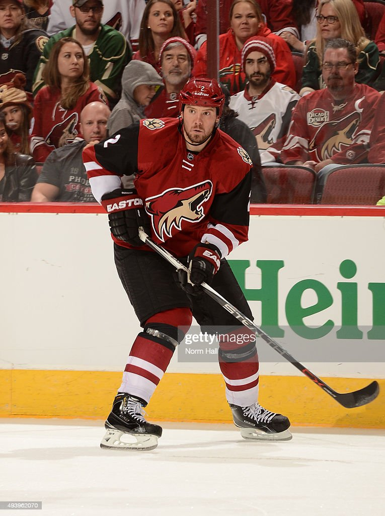 Nicklas Grossmann of the Arizona Coyotes skates up ice against the Minnesota Wild at Gila River Arena on October 15 2015 in Glendale Arizona