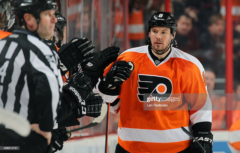 Nicklas Grossmann of the Philadelphia Flyers celebrates a second period goal against the Washington Capitals on December 17 2013 at the Wells Fargo...