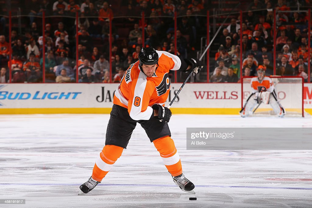 Nicklas Grossmann of the Philadelphia Flyers in action against the Columbus Blue Jackets during their game at the Wells Fargo Center on December 19...
