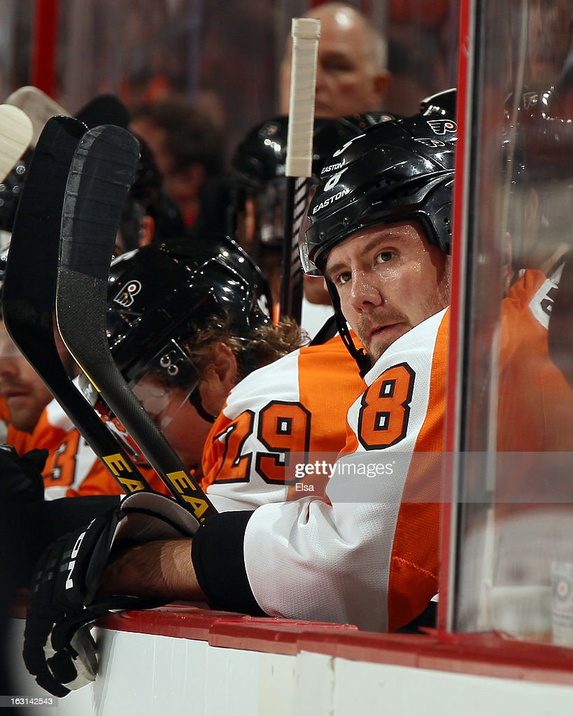<a gi-track='captionPersonalityLinkClicked' href=/galleries/search?phrase=Nicklas+Grossman&family=editorial&specificpeople=2284863 ng-click='$event.stopPropagation()'>Nicklas Grossman</a>n #8 of the Philadelphia Flyers looks on from the bench in the first period against the Washington Capitals on February 27, 2013 at the Wells Fargo Center in Philadelphia, Pennsylvania.