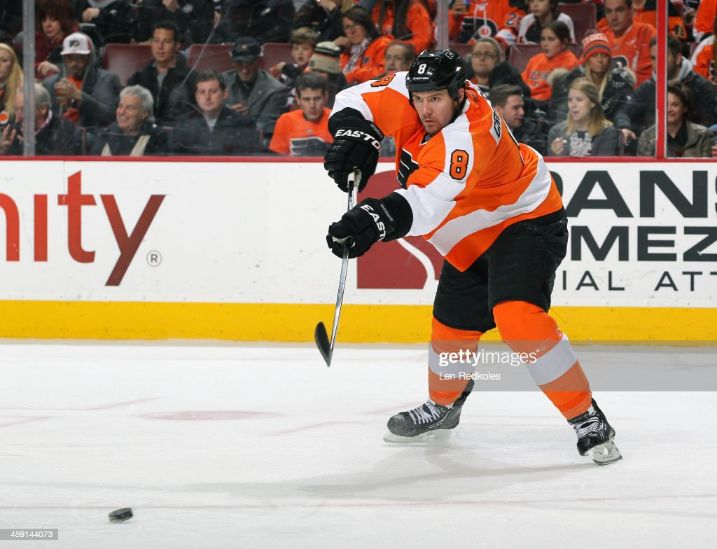 Nicklas Grossmann of the Philadelphia Flyers passes the puck against the Montreal Canadiens on December 12 2013 at the Wells Fargo Center in...