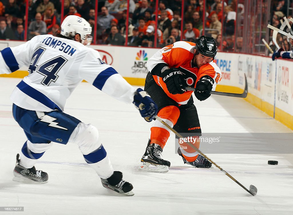 <a gi-track='captionPersonalityLinkClicked' href=/galleries/search?phrase=Nicklas+Grossman&family=editorial&specificpeople=2284863 ng-click='$event.stopPropagation()'>Nicklas Grossman</a>n #8 of the Philadelphia Flyers shoots the puck as Nate Thompson #44 of the Tampa Bay Lightning defends on February 5, 2013 at the Wells Fargo Center in Philadelphia, Pennsylvania.
