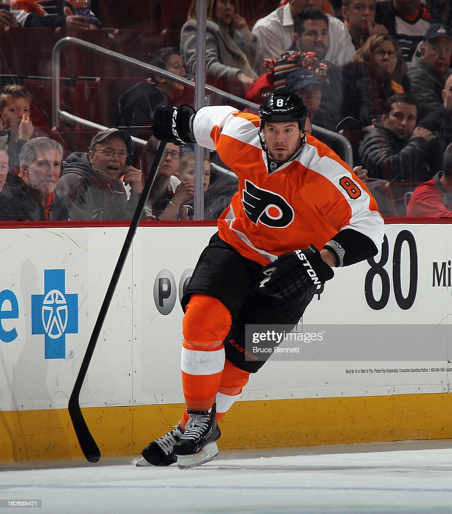 <a gi-track='captionPersonalityLinkClicked' href=/galleries/search?phrase=Nicklas+Grossman&family=editorial&specificpeople=2284863 ng-click='$event.stopPropagation()'>Nicklas Grossman</a>n #8 of the Philadelphia Flyers skates against the Florida Panthers at the Wells Fargo Center on February 21, 2013 in Philadelphia, Pennsylvania.