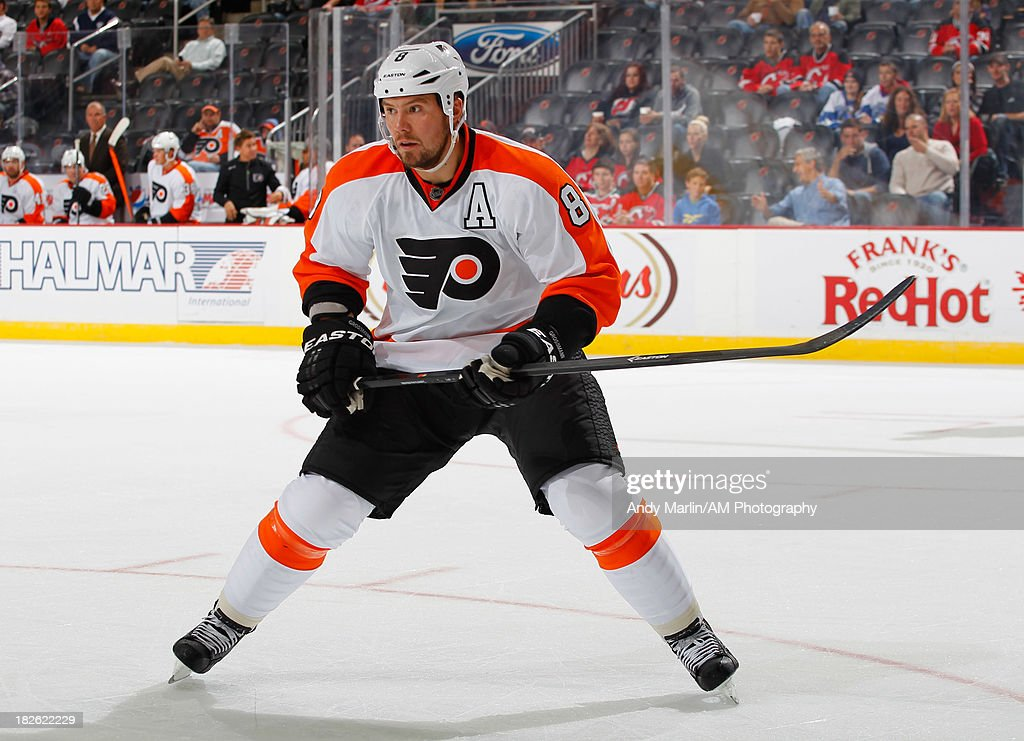 Nicklas Grossmann of the Philadelphia Flyers skates against the New Jersey Devils during the preseason game at Prudential Center on September 26 2013...