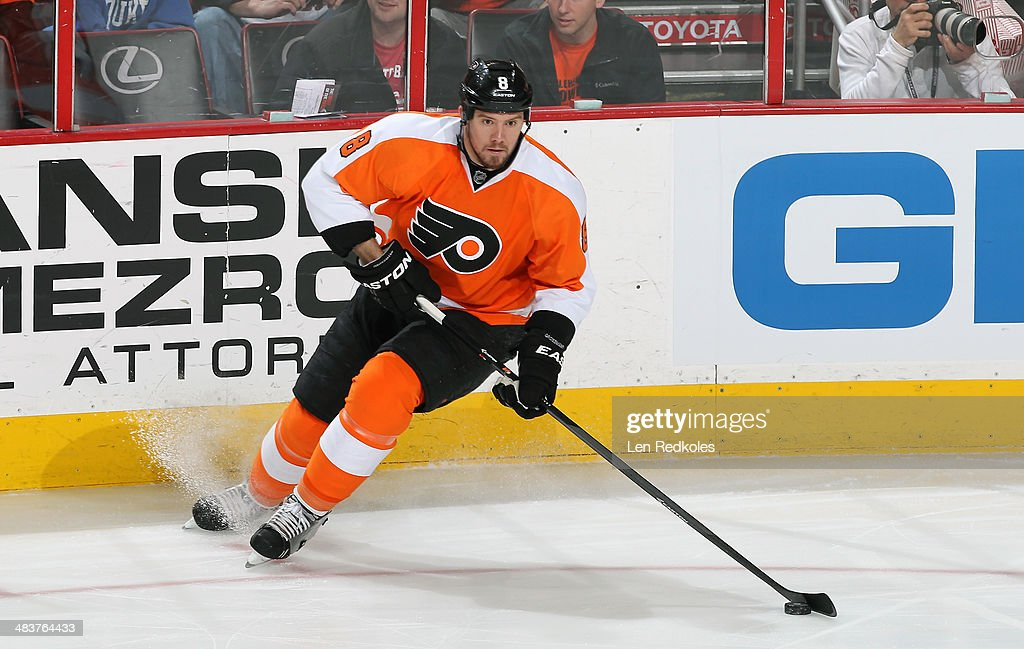 Nicklas Grossmann of the Philadelphia Flyers skates the puck against the Buffalo Sabres on April 6 2014 at the Wells Fargo Center in Philadelphia...