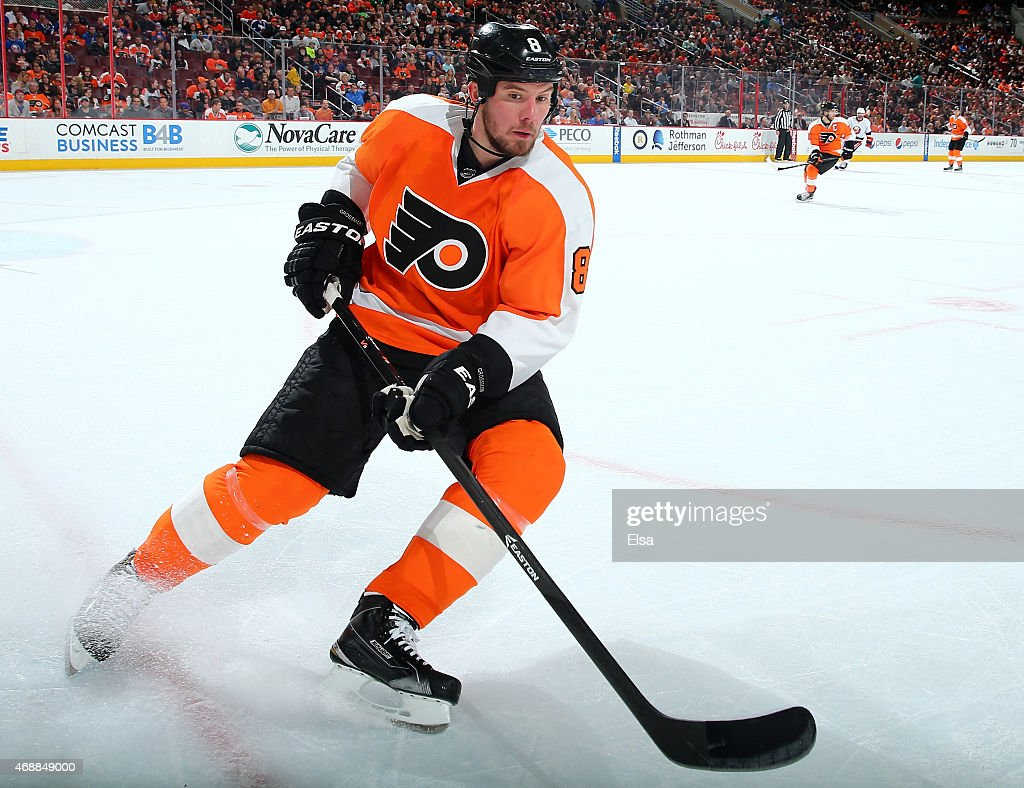Nicklas Grossmann of the Philadelphia Flyers takes the puck in the first period against the New York Islanders on April 7 2015 at the Wells Fargo...