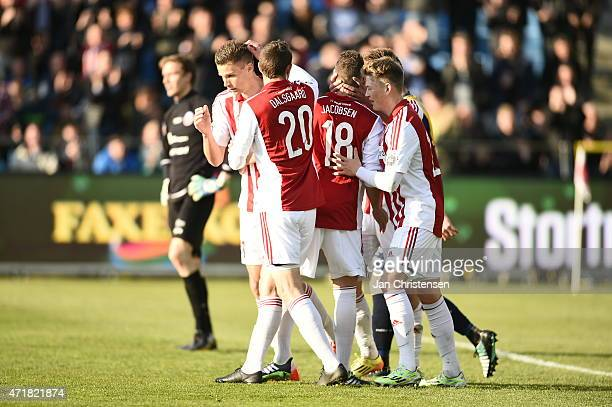 Nicklas Helenius of AaB Aalborg and teammates celebrating after his 20 goal during the Danish Alka Superliga match between AaB Aalborg and Hobro IK...