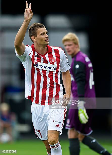 Nicklas Helenius of AaB Aalborg celebrates after scoring their second goal during the Danish Superliga match between AaB Aalborg and FC Midtjylland...