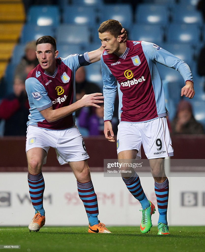 Nicklas Helenius of Aston Villa celebrates his goal during the FA Cup Third Round match between Aston Villa and Sheffield United at Villa Park on January 04, 2014 in Birmingham, England.